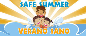 Logo image for safe summer featuring a cartoon image of chidren splashing with a sunburst in the background.